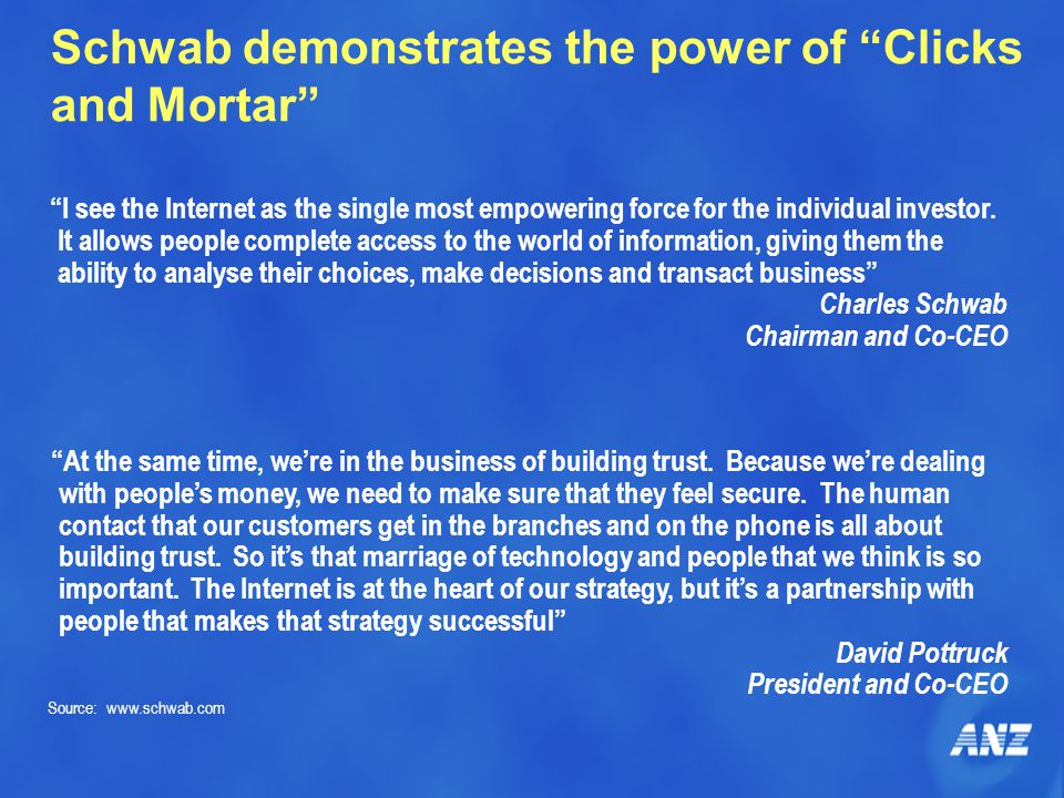"""Schwab demonstrates the power of """"Clicks and Mortar"""" """"I see the Internet as the single most empowering force for the individual investor. It allows pe"""