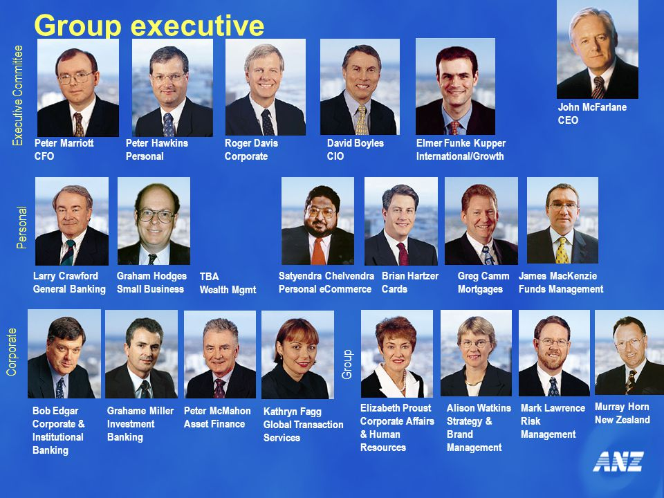 Group executive Peter Marriott CFO Peter Hawkins Personal Roger Davis Corporate David Boyles CIO John McFarlane CEO Larry Crawford General Banking Satyendra Chelvendra Personal eCommerce Brian Hartzer Cards Greg Camm Mortgages Bob Edgar Corporate & Institutional Banking Grahame Miller Investment Banking Peter McMahon Asset Finance Elizabeth Proust Corporate Affairs & Human Resources Alison Watkins Strategy & Brand Management Mark Lawrence Risk Management Executive Committee Personal Corporate Group Elmer Funke Kupper International/Growth James MacKenzie Funds Management Graham Hodges Small Business Murray Horn New Zealand Kathryn Fagg Global Transaction Services TBA Wealth Mgmt