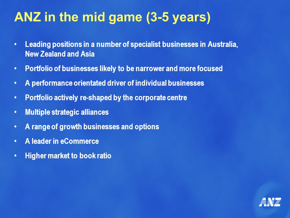 ANZ in the mid game (3-5 years) Leading positions in a number of specialist businesses in Australia, New Zealand and Asia Portfolio of businesses likely to be narrower and more focused A performance orientated driver of individual businesses Portfolio actively re-shaped by the corporate centre Multiple strategic alliances A range of growth businesses and options A leader in eCommerce Higher market to book ratio
