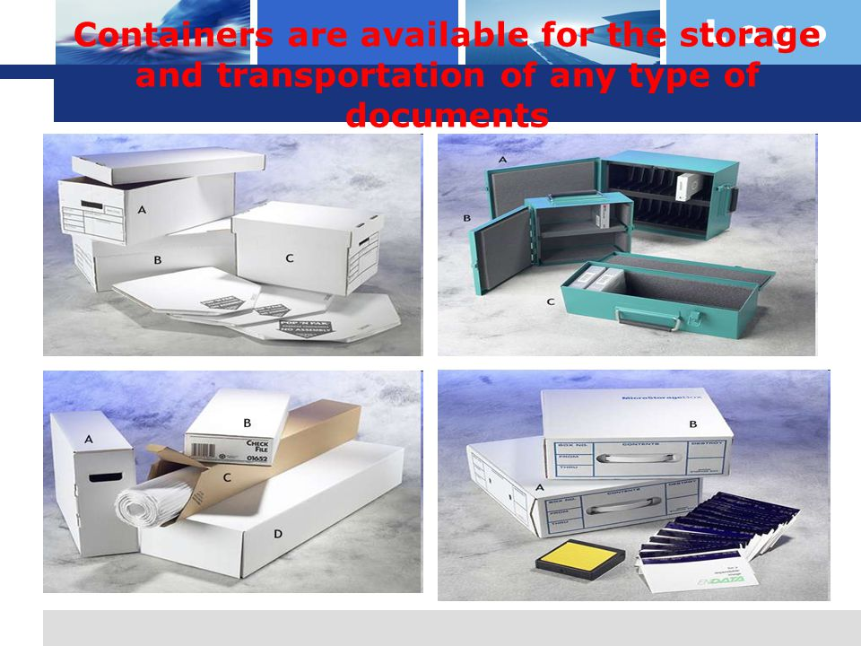 L o g o Containers are available for the storage and transportation of any type of documents   http://www.docusafe.com/ images/boxes/microstora ge.jpg