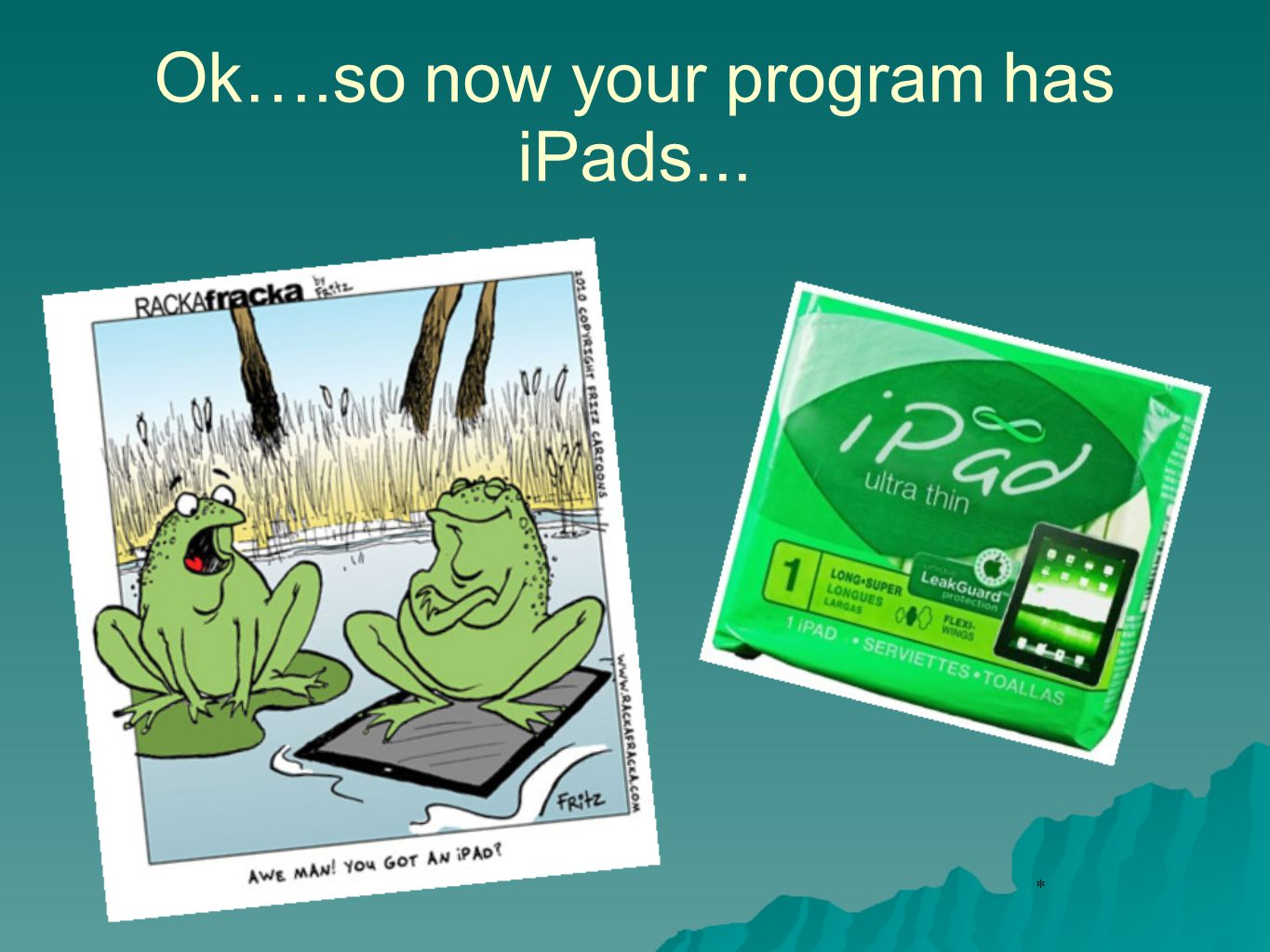 * Ok….so now your program has iPads...