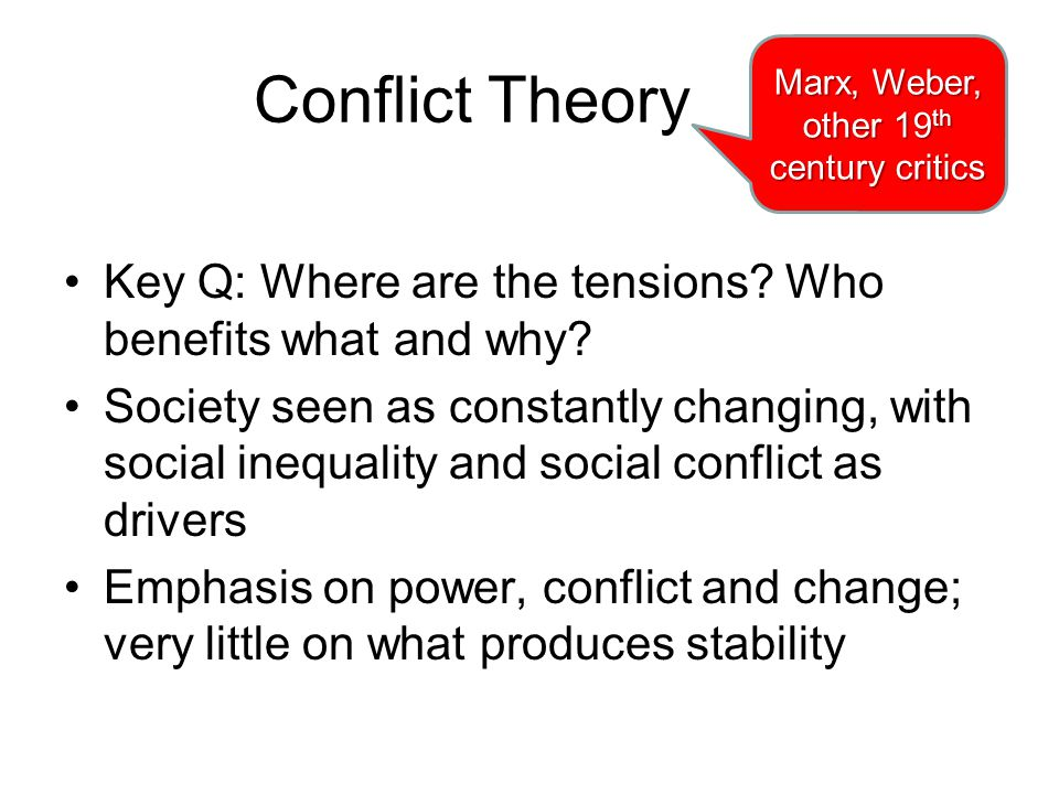 Conflict Theory Key Q: Where are the tensions.Who benefits what and why.