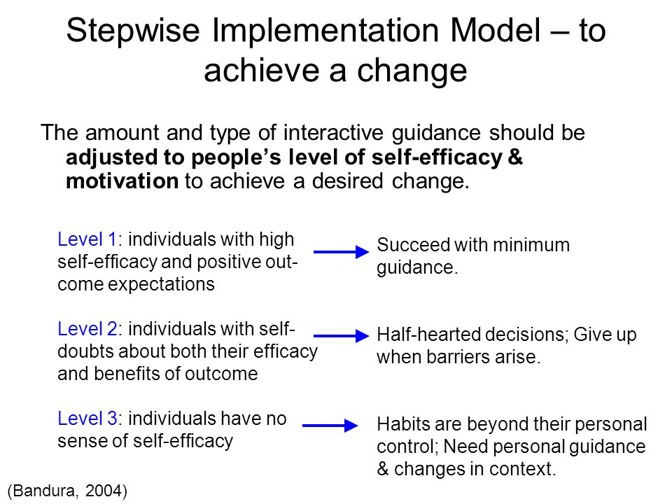 Stepwise Implementation Model – to achieve a change The amount and type of interactive guidance should be adjusted to people's level of self-efficacy & motivation to achieve a desired change.