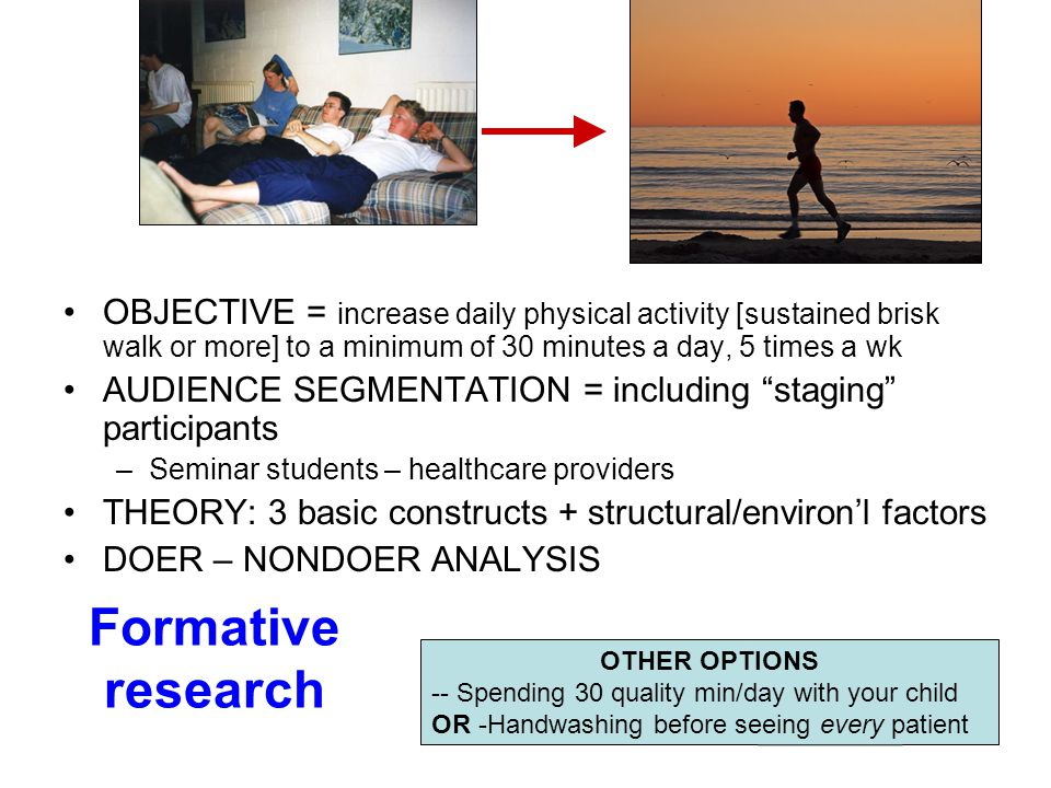 Formative research OBJECTIVE = increase daily physical activity [sustained brisk walk or more] to a minimum of 30 minutes a day, 5 times a wk AUDIENCE SEGMENTATION = including staging participants –Seminar students – healthcare providers THEORY: 3 basic constructs + structural/environ'l factors DOER – NONDOER ANALYSIS OTHER OPTIONS -- Spending 30 quality min/day with your child OR -Handwashing before seeing every patient