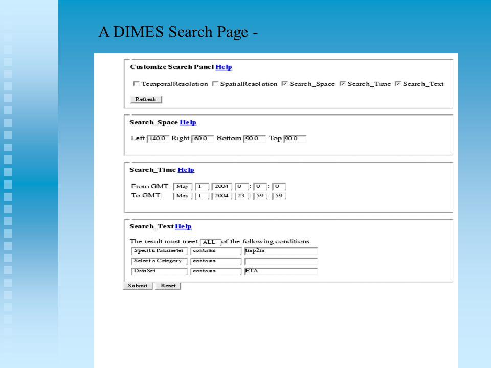 A DIMES Search Page -