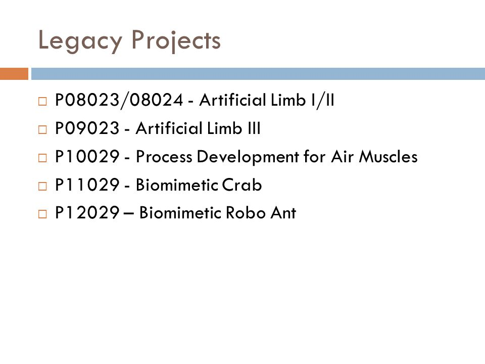 Legacy Projects  P08023/08024 - Artificial Limb I/II  P09023 - Artificial Limb III  P10029 - Process Development for Air Muscles  P11029 - Biomime