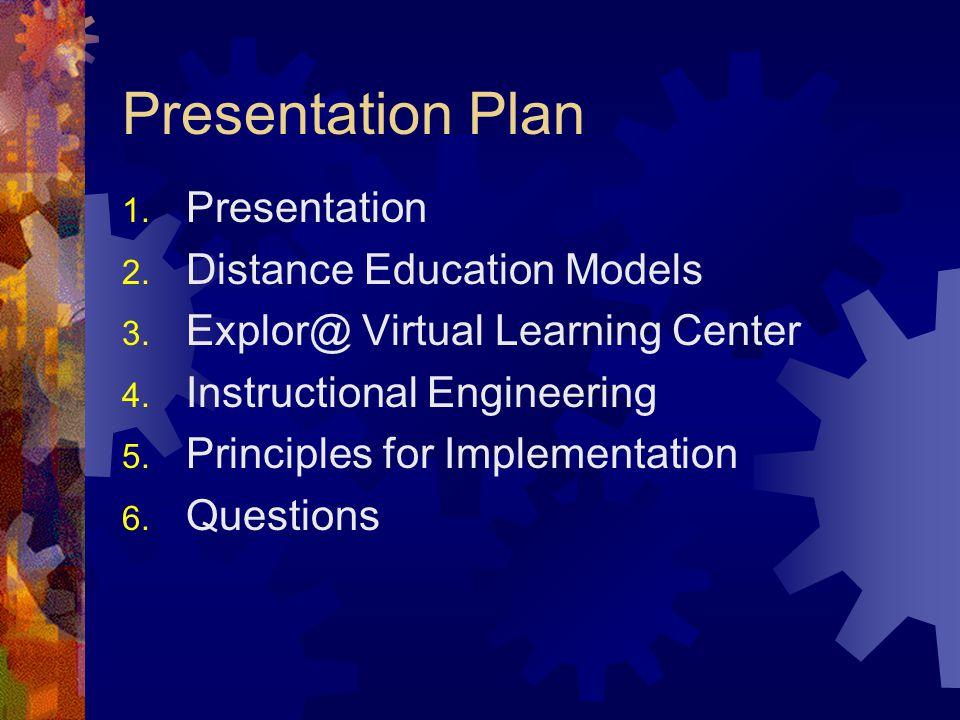Presentation Plan 1. Presentation 2. Distance Education Models 3.