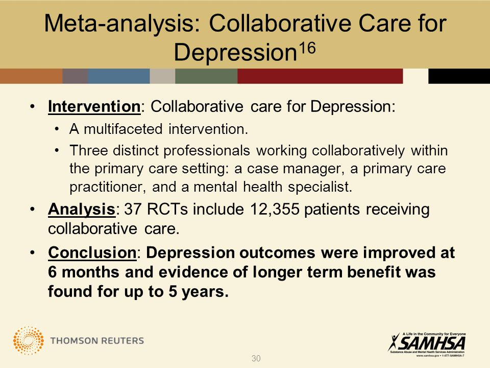 Intervention: Collaborative care for Depression: A multifaceted intervention.