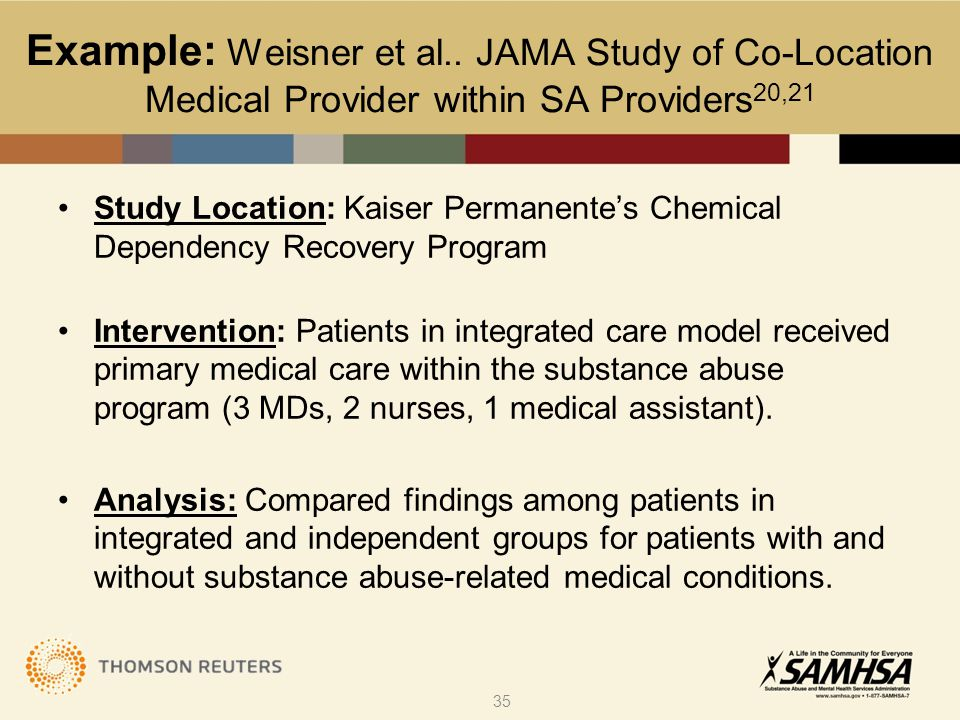 Study Location: Kaiser Permanente's Chemical Dependency Recovery Program Intervention: Patients in integrated care model received primary medical care within the substance abuse program (3 MDs, 2 nurses, 1 medical assistant).