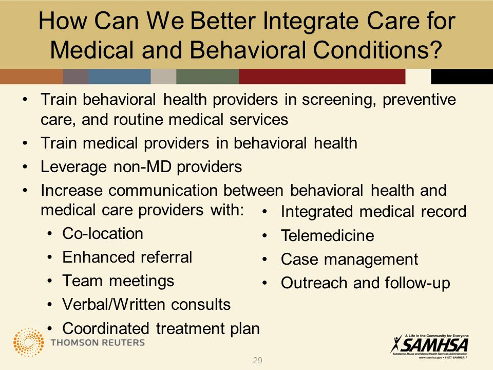 How Can We Better Integrate Care for Medical and Behavioral Conditions.