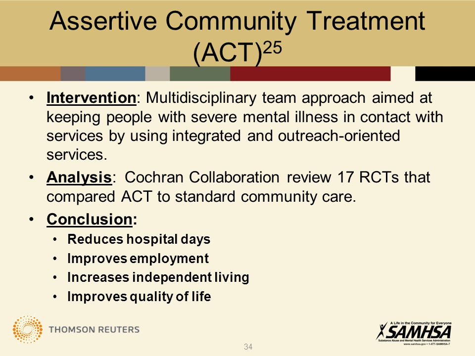 Assertive Community Treatment (ACT) 25 Intervention: Multidisciplinary team approach aimed at keeping people with severe mental illness in contact wit