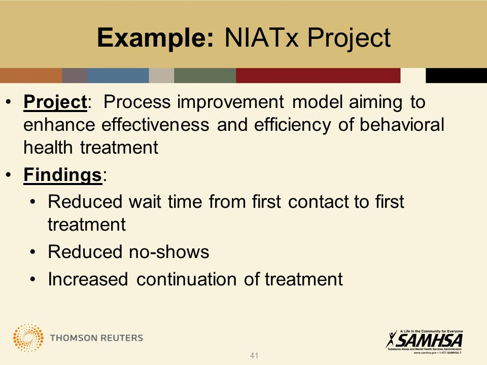 Example: NIATx Project Project: Process improvement model aiming to enhance effectiveness and efficiency of behavioral health treatment Findings: Redu
