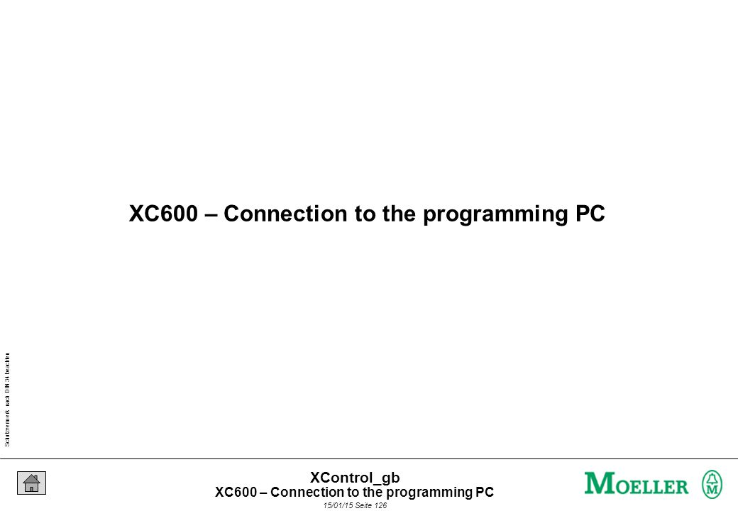 Schutzvermerk nach DIN 34 beachten 15/01/15 Seite 126 XControl_gb XC600 – Connection to the programming PC