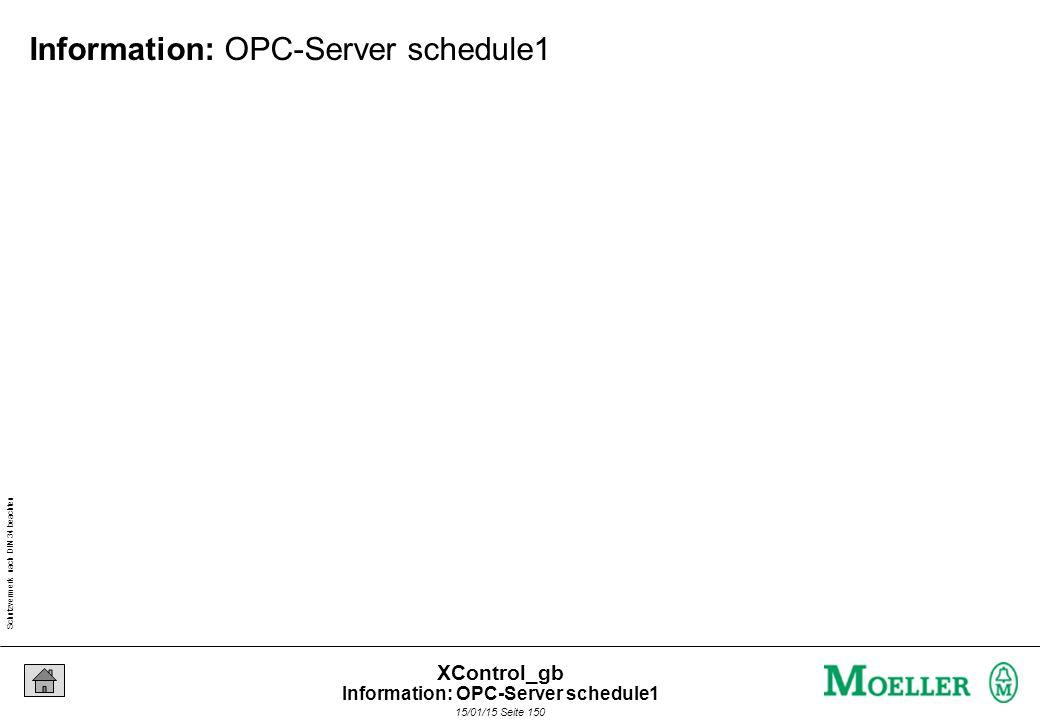 Schutzvermerk nach DIN 34 beachten 15/01/15 Seite 150 XControl_gb Information: OPC-Server schedule1