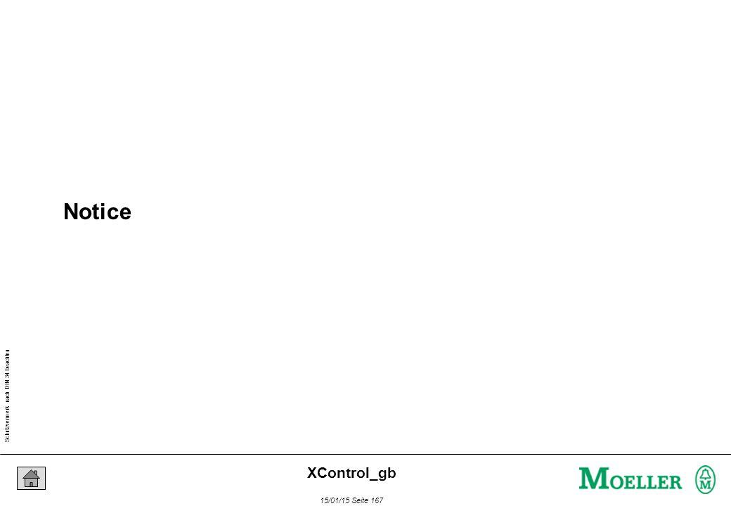 Schutzvermerk nach DIN 34 beachten 15/01/15 Seite 167 XControl_gb Notice
