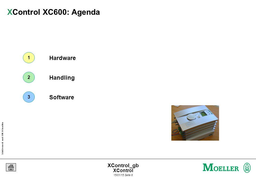 Schutzvermerk nach DIN 34 beachten 15/01/15 Seite 6 XControl_gb Hardware Handling Software 1 2 3 XControl XC600: Agenda XControl