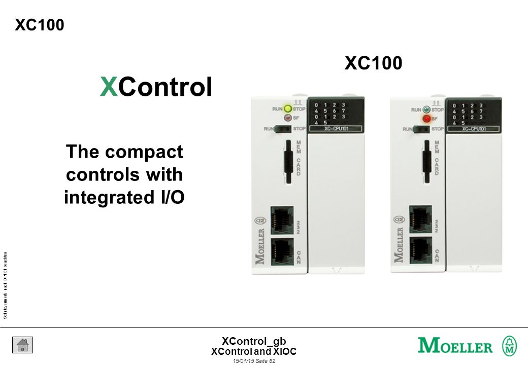 Schutzvermerk nach DIN 34 beachten 15/01/15 Seite 62 XControl_gb The compact controls with integrated I/O XControl XC100 XControl and XIOC