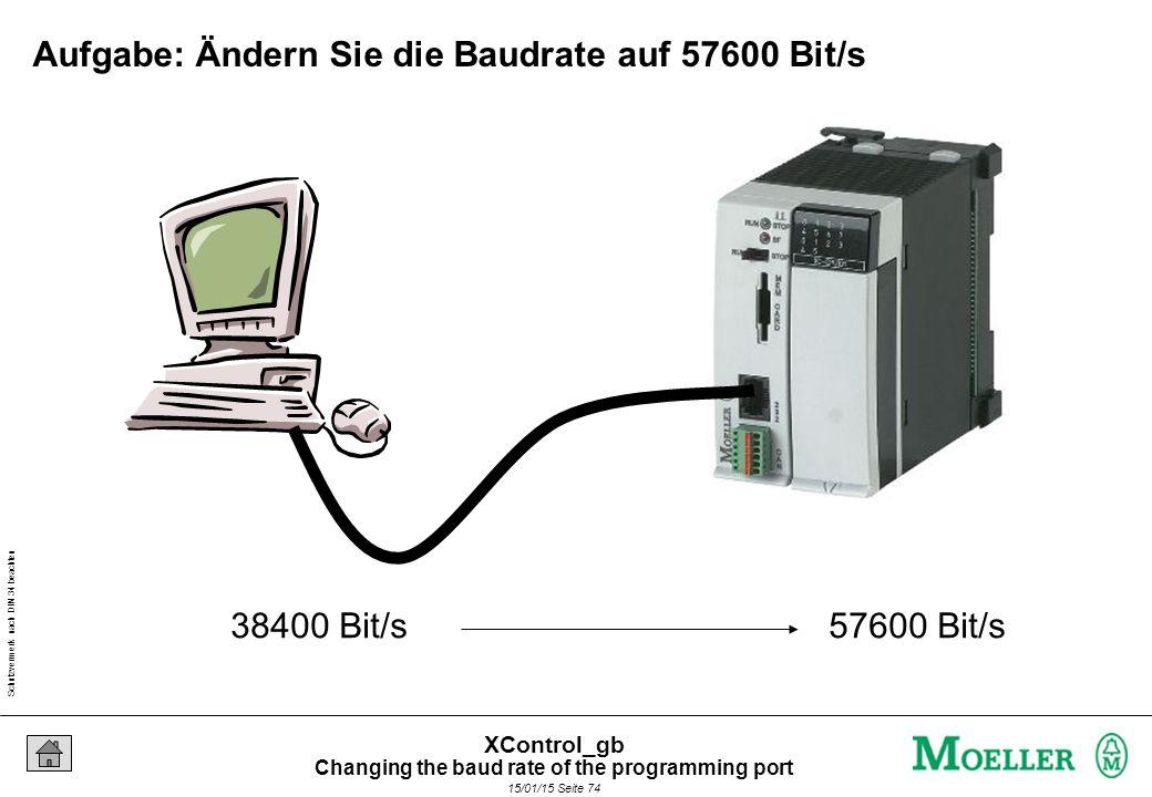 Schutzvermerk nach DIN 34 beachten 15/01/15 Seite 74 XControl_gb Aufgabe: Ändern Sie die Baudrate auf 57600 Bit/s 38400 Bit/s 57600 Bit/s Changing the baud rate of the programming port