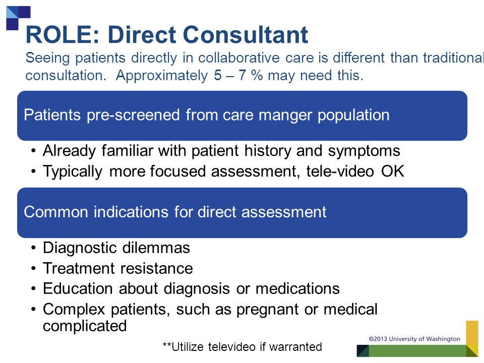 ROLE: Direct Consultant Seeing patients directly in collaborative care is different than traditional consultation.