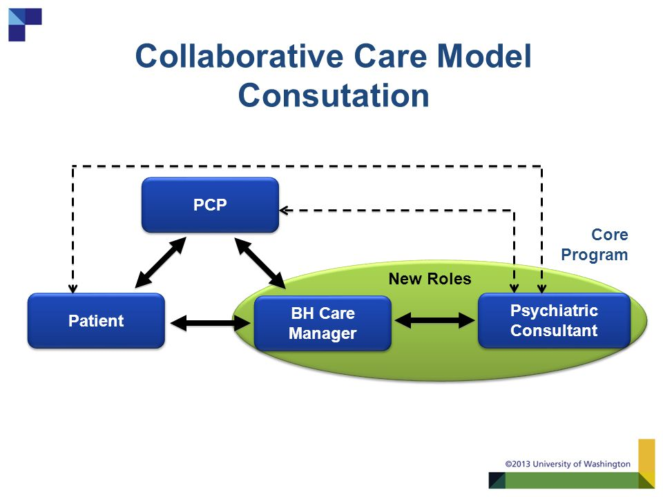 Collaborative Care Model Consutation PCP Patient BH Care Manager BH Care Manager Psychiatric Consultant Core Program New Roles