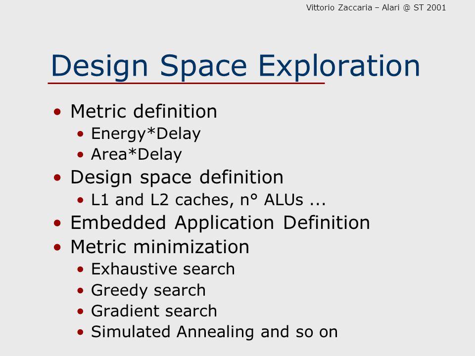 Vittorio Zaccaria – Alari @ ST 2001 Design Space Exploration Metric definition Energy*Delay Area*Delay Design space definition L1 and L2 caches, n° ALUs...