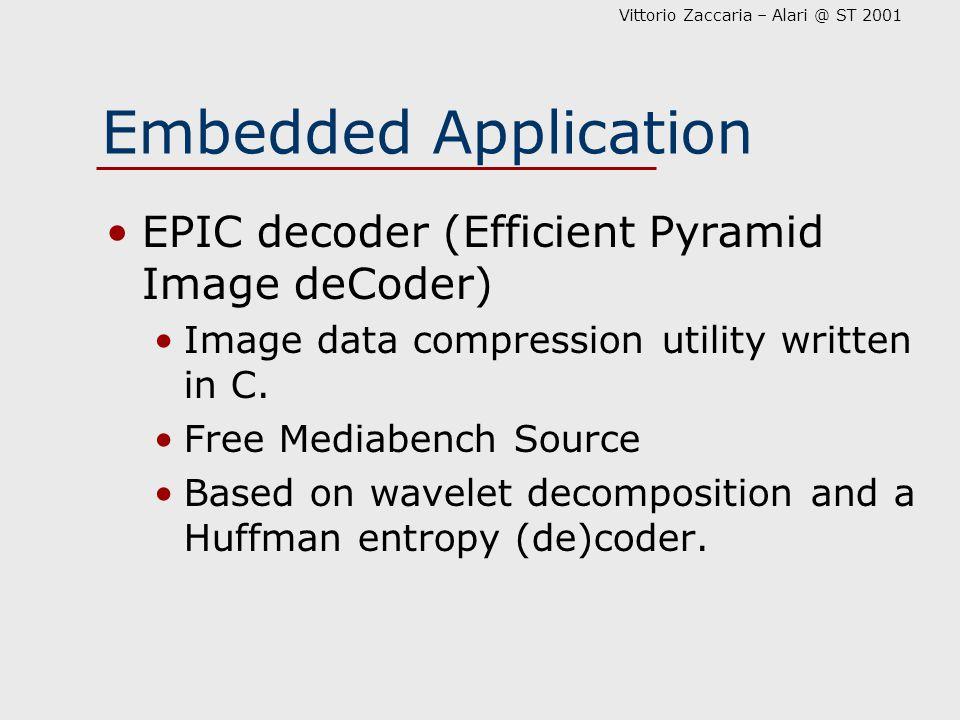 Vittorio Zaccaria – Alari @ ST 2001 Embedded Application EPIC decoder (Efficient Pyramid Image deCoder) Image data compression utility written in C. F