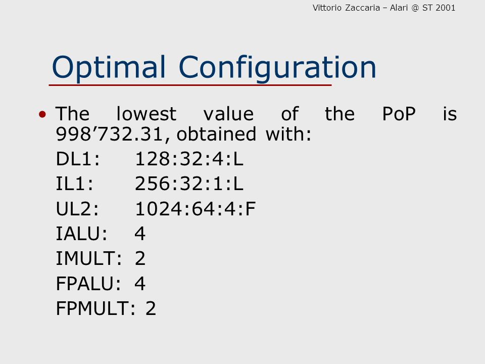 Vittorio Zaccaria – Alari @ ST 2001 Optimal Configuration The lowest value of the PoP is 998'732.31, obtained with: DL1:128:32:4:L IL1:256:32:1:L UL2: