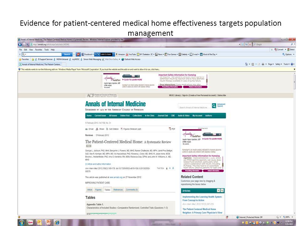 Evidence for patient-centered medical home effectiveness targets population management