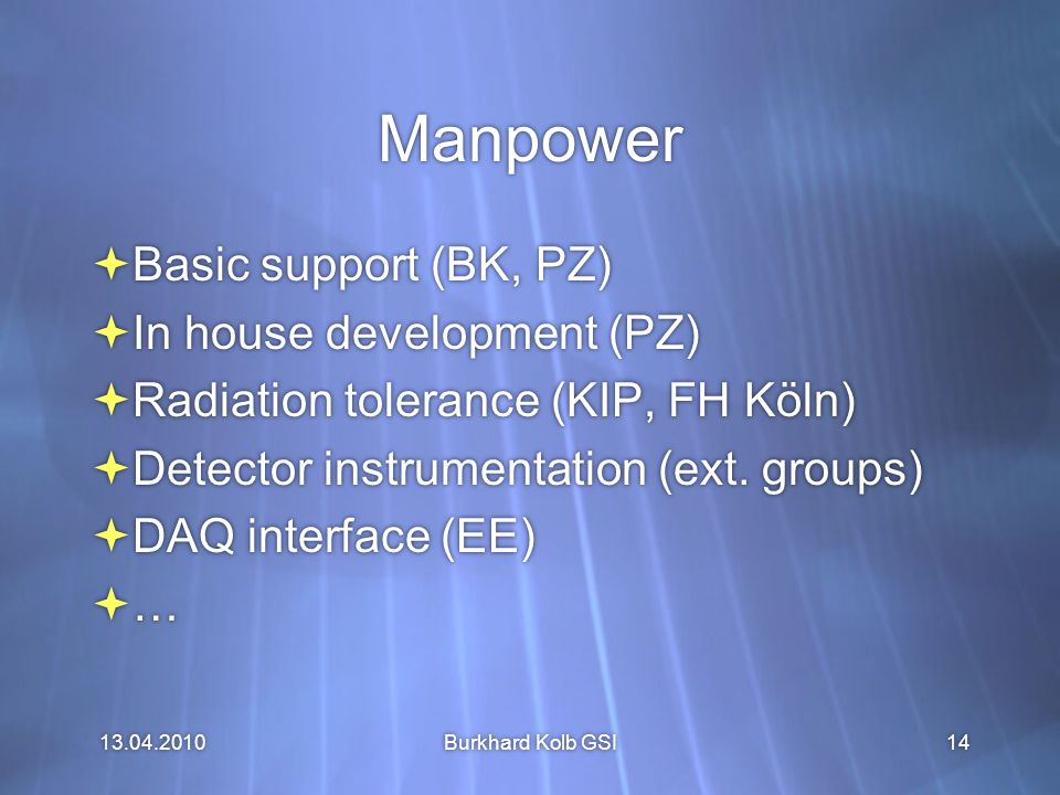 13.04.2010 Burkhard Kolb GSI14 Manpower  Basic support (BK, PZ)  In house development (PZ)  Radiation tolerance (KIP, FH Köln)  Detector instrumentation (ext.