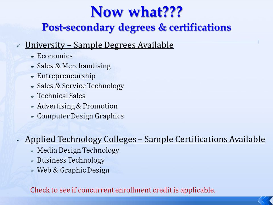 University – Sample Degrees Available  Economics  Sales & Merchandising  Entrepreneurship  Sales & Service Technology  Technical Sales  Advertising & Promotion  Computer Design Graphics Applied Technology Colleges – Sample Certifications Available  Media Design Technology  Business Technology  Web & Graphic Design Check to see if concurrent enrollment credit is applicable.