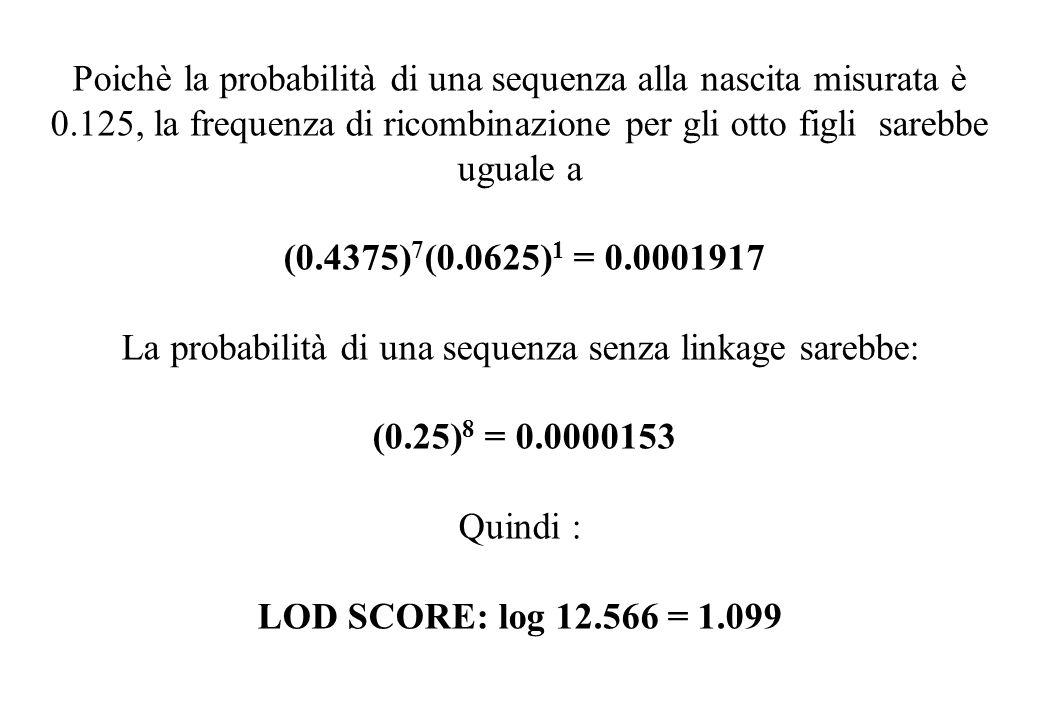 Poichè la probabilità di una sequenza alla nascita misurata è 0.125, la frequenza di ricombinazione per gli otto figli sarebbe uguale a (0.4375) 7 (0.0625) 1 = 0.0001917 La probabilità di una sequenza senza linkage sarebbe: (0.25) 8 = 0.0000153 Quindi : LOD SCORE: log 12.566 = 1.099
