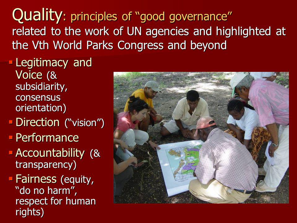 Quality : principles of good governance related to the work of UN agencies and highlighted at the Vth World Parks Congress and beyond  Legitimacy and Voice (& subsidiarity, consensus orientation)  Direction ( vision )  Performance  Accountability (& transparency)  Fairness (equity, do no harm , respect for human rights)