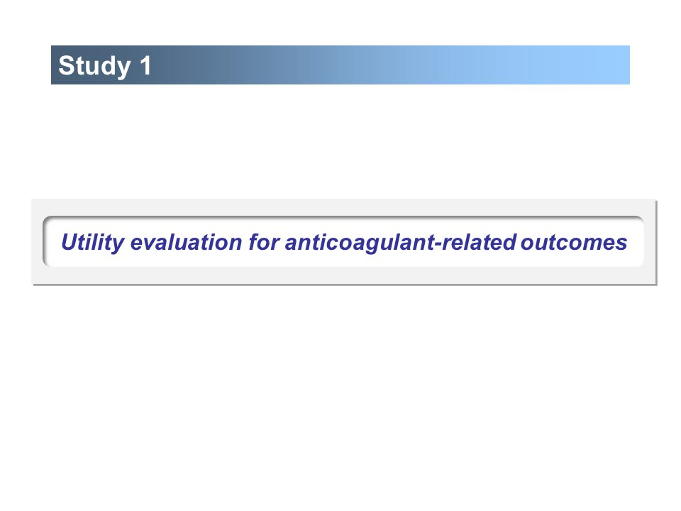 Study 1 Utility evaluation for anticoagulant-related outcomes