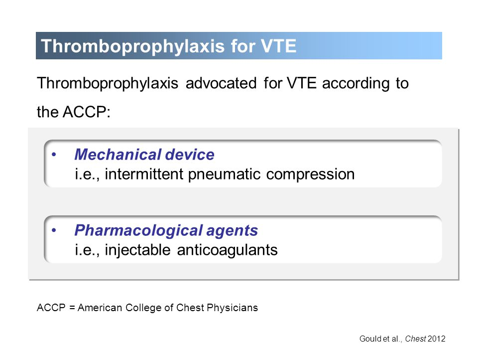 Thromboprophylaxis for VTE ≤4cm Thromboprophylaxis advocated for VTE according to the ACCP: ACCP = American College of Chest Physicians Gould et al.,