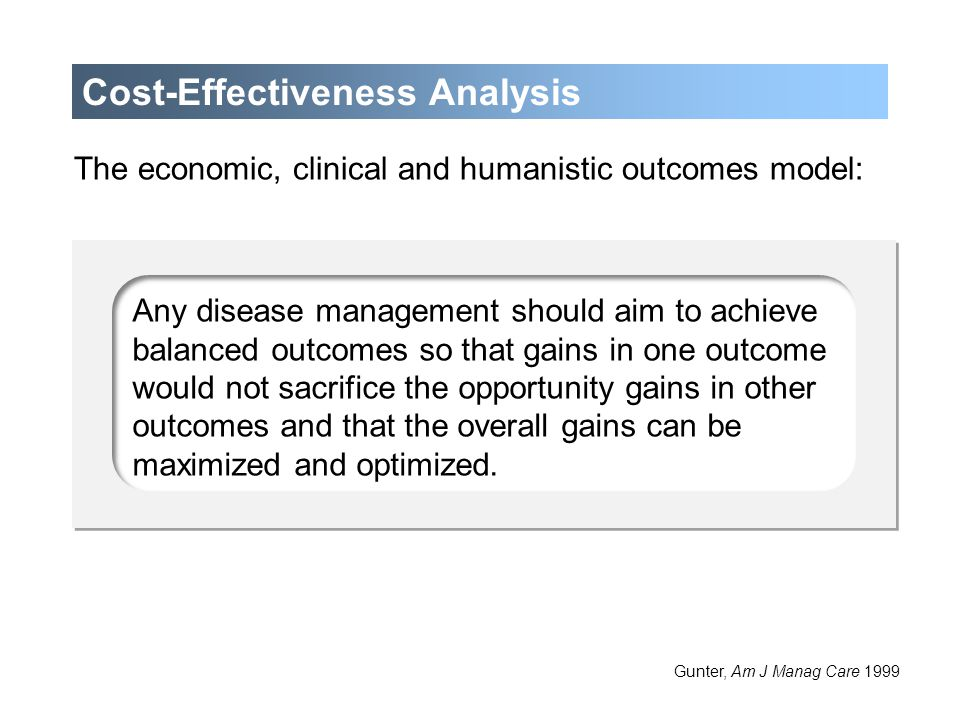 Optimize the allocation of limited health care resources IdentifyMeasureCompare Costs (e.g., resource consumption) Consequences (e.g., clinical or humanistic outcomes) Cost-Effectiveness Analysis (continued) Gunter, Am J Manag Care 1999