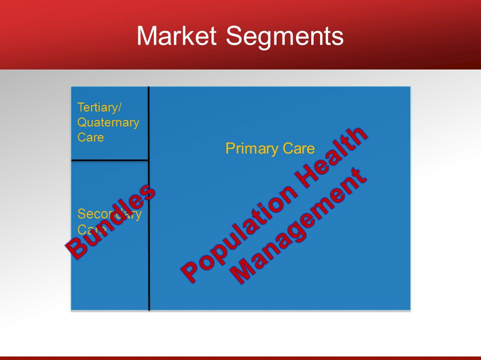 Tertiary/ Quaternary Care Secondary Care Primary Care Market Segments