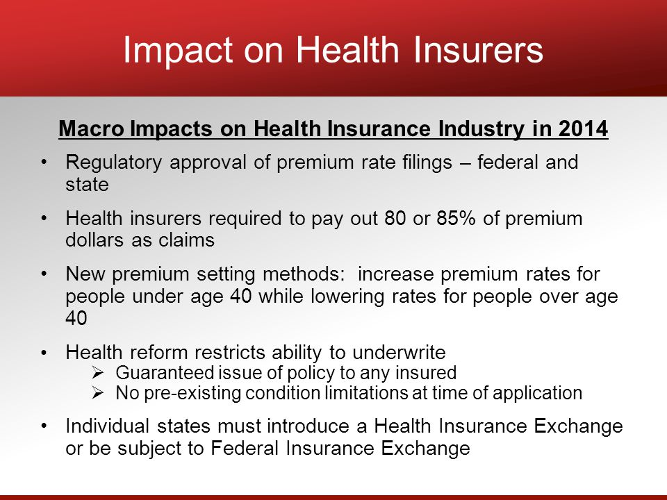 Impact on Health Insurers Macro Impacts on Health Insurance Industry in 2014 Regulatory approval of premium rate filings – federal and state Health insurers required to pay out 80 or 85% of premium dollars as claims New premium setting methods: increase premium rates for people under age 40 while lowering rates for people over age 40 Health reform restricts ability to underwrite  Guaranteed issue of policy to any insured  No pre-existing condition limitations at time of application Individual states must introduce a Health Insurance Exchange or be subject to Federal Insurance Exchange