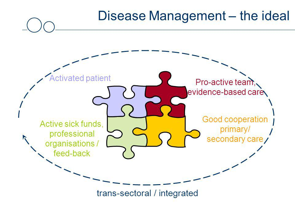Disease Management – the ideal Activated patient Good cooperation primary/ secondary care Pro-active team, evidence-based care Active sick funds, professional organisations / feed-back trans-sectoral / integrated