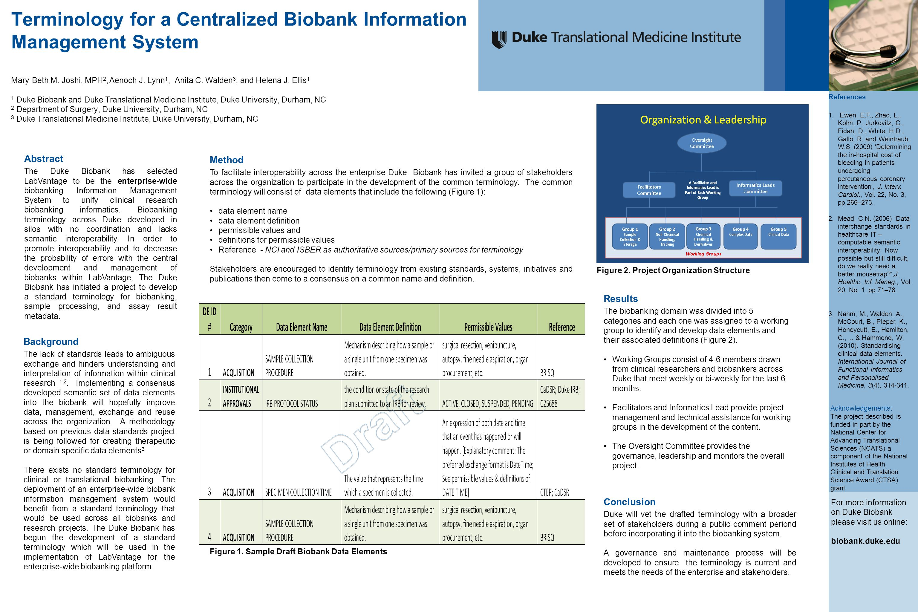 Terminology for a Centralized Biobank Information Management System Mary-Beth M.