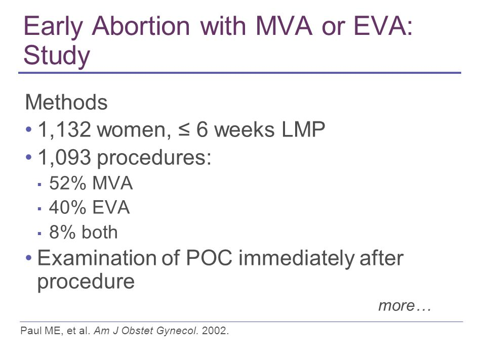 Early Abortion with MVA or EVA: Study Methods 1,132 women, ≤ 6 weeks LMP 1,093 procedures: ▪ 52% MVA ▪ 40% EVA ▪ 8% both Examination of POC immediately after procedure Paul ME, et al.