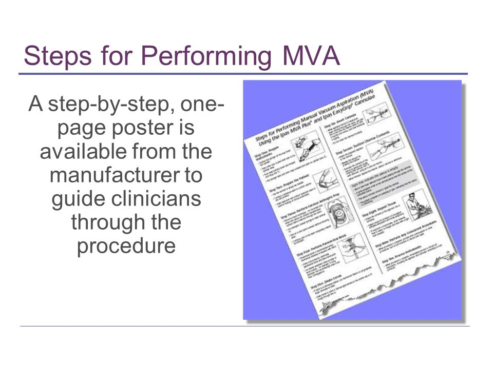 Steps for Performing MVA A step-by-step, one- page poster is available from the manufacturer to guide clinicians through the procedure
