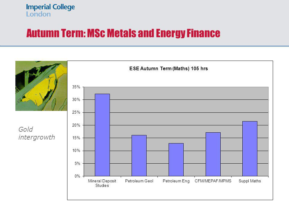 Autumn Term: MSc Metals and Energy Finance Gold intergrowth