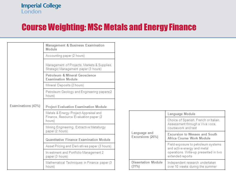 Course Weighting: MSc Metals and Energy Finance Examinations (43%) Management & Business Examination Module Accounting paper (2 hours) Management of P