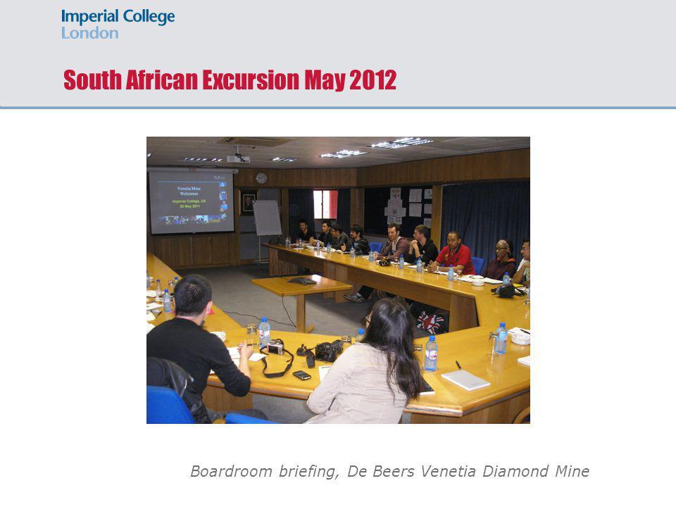 South African Excursion May 2012 Boardroom briefing, De Beers Venetia Diamond Mine