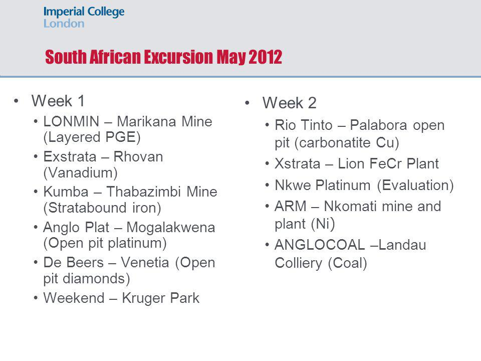 South African Excursion May 2012 Week 1 LONMIN – Marikana Mine (Layered PGE) Exstrata – Rhovan (Vanadium) Kumba – Thabazimbi Mine (Stratabound iron) A