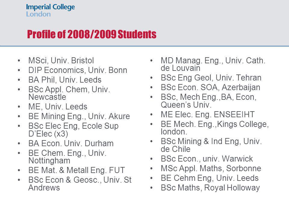 Profile of 2008/2009 Students MSci, Univ. Bristol DIP Economics, Univ. Bonn BA Phil, Univ. Leeds BSc Appl. Chem, Univ. Newcastle ME, Univ. Leeds BE Mi