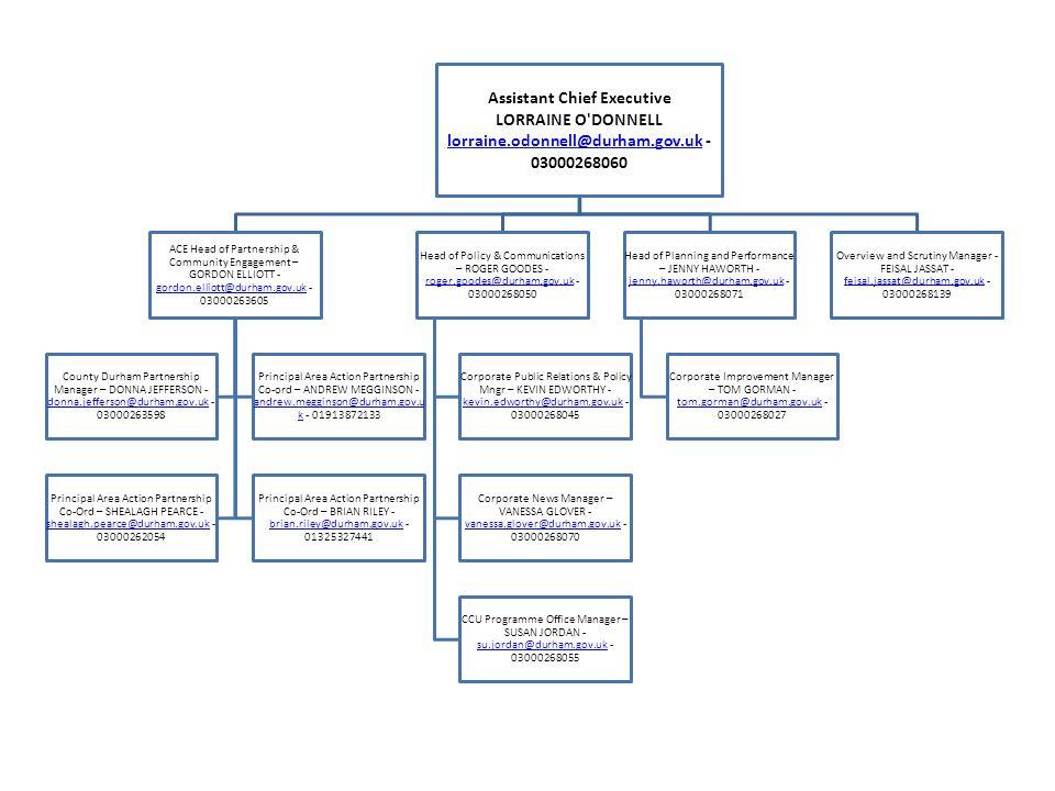 Corporate Director Children & Adult Services RACHAEL SHIMMIN rachael.shimmin@durham.gov.uk - 03000267353 rachael.shimmin@durham.gov.uk Head of Planning & Service Strategy – PETER APPLETON - peter.appleton@durham.
