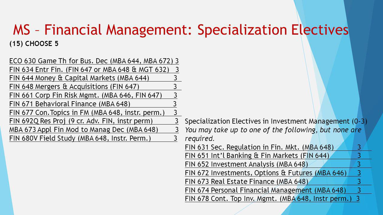 MS – Financial Management: Specialization Electives (15) CHOOSE 5 ECO 630 Game Th for Bus.