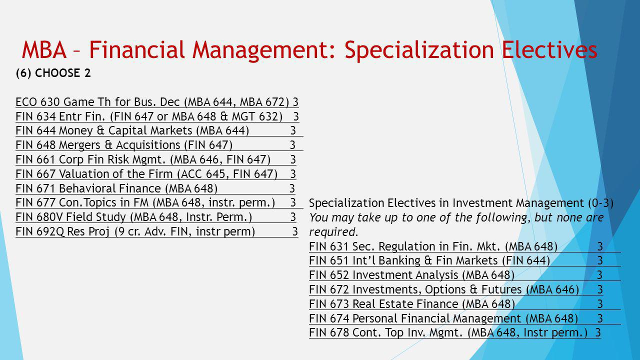 MBA – Financial Management: Specialization Electives (6) CHOOSE 2 ECO 630 Game Th for Bus.