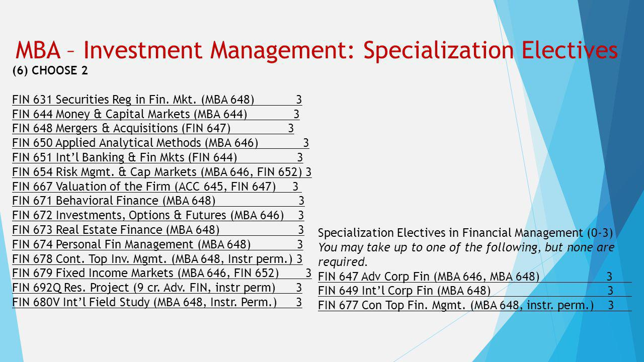 MBA – Investment Management: Specialization Electives (6) CHOOSE 2 FIN 631 Securities Reg in Fin. Mkt. (MBA 648) 3 FIN 644 Money & Capital Markets (MB